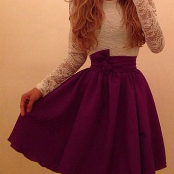 Color Block Long Sleeve Lace Dress
