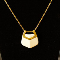 Trifari Necklace White Lucite and Gold Tone by TwiceBakedVintage