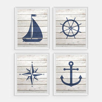 Boys Nautical Nursery, Nautical Decor, Nautical Art, Compass, Boat, Anchor, Boat Wheel, Set of 4 Prints, Nautical Wall Art, Boys Room Decor