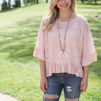 Crochet Bell Sleeve Top, Rose