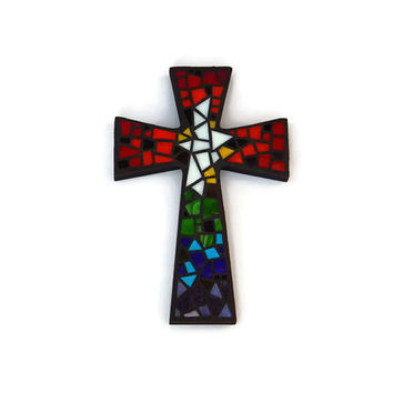 "Mosaic Wall Cross, Black with Rainbow + White Glass, Handmade Stained Glass Mosaic Cross Wall Decor, 12"" x 8"""