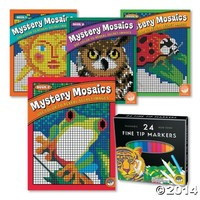 Mystery Mosaics Collection: Set of 6 with FREE 24 Markers