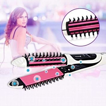 2-in-1Hair straightener Comb/Ripple Curling hair curler Fast Safe Temperature Control Professional Hair iron Straightening Brush