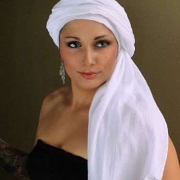 White Cotton Turban Head wrap, Turbans for cancer, head scarf, hats for cancer patients, alopecia, chemo hair loss.