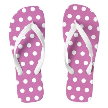 Cute Pink And White Polka Dots Pattern Design Flip Flops