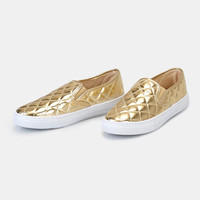 Quilted Vegan Leather Slip-On Sneakers | Wet Seal