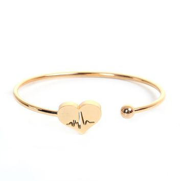 Gold EKG Heartbeat Electrocardiogram 304 Stainless Steel Open Cuff Bangle Bracelet Gold Heart Nurse Gift