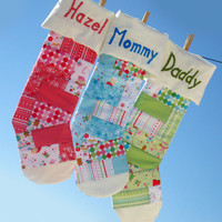 """Christmas Sale Quilted Stockings Set of 3 Personalized for the family with Patchwork (18"""" large) - Children Christmas"""