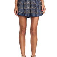 Parker Filomena Leather Skirt in Navy from REVOLVEclothing.com