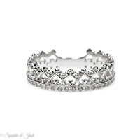 Sterling Silver Crown Hearts CZ Lined Ring