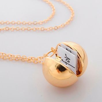 dabe3f2aa Custom Handmade Minimalism Secret Message Ball Locket Necklace F