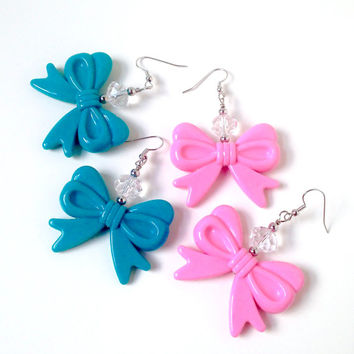 Pink kawaii bow earrings, blue bow earrings, large bow earrings, big bow earrings, sweet lolita jewelry, harajuku girl, pastel jewelry