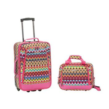 Rockland Tribal 2-Piece Lightweight Carry-On Luggage Set | Overstock.com Shopping - The Best Deals on Carry On Upright Luggage