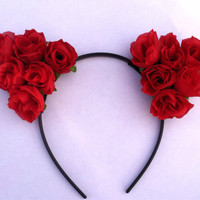 Floral Cat Ears, Flower Headband, Floral Headband, Hair Accessory, Rave Accessory-Red Roses