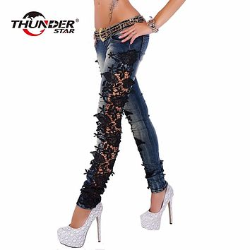 Fashion Women's Denim Pencil Pants Ladies Lace Crochet Floral Splice Low Waist Skinny Jeans Hollow Out Casual Women Jeans Pants