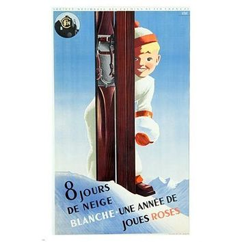 BOY AND SKIS vintage ad poster SNOW MOUNTAIN winter sports COLLECTORS 24X36