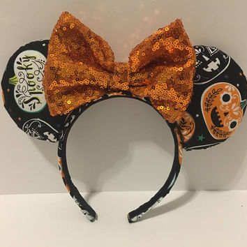 Pumpkin Mickey Ears - Halloween Mickey Ears - Disney Inspired Pumpkin Ears - Pumpkin Minnie Ears - Halloween Minnie Ears