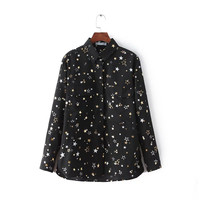 Five-pointed Star Pockets Long Sleeve Vintage Chiffon Tops