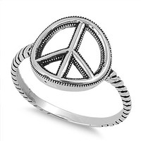 925 Sterling Silver Classic Haight and Ashbury Peace Sign Ring 13MM