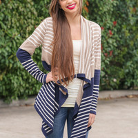 Navy and Beige Stripes Cardigan