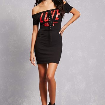 Lace-Up Graphic Bodycon Dress