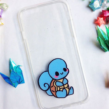 Hand painted Squirtle phone cases, iPhone 6 case, iPhone 7 case, iPhone 6s case, Pokemon phone case, Samsung Galaxy S7 Edge Case