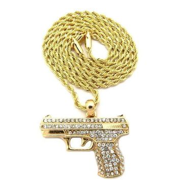 Men's Iced Out Gold Plated Gun Pendant W 2mm 24' Rope Chain Necklace Dd032g
