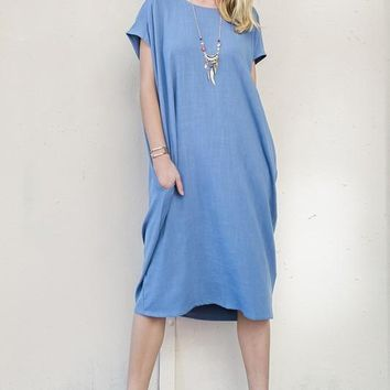 Short Sleeve Linen Tunic Dress with Pockets