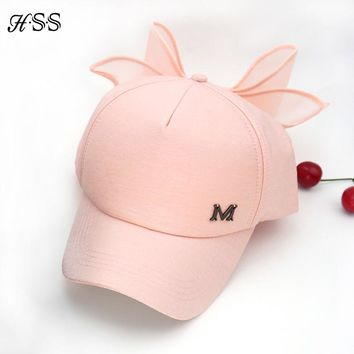 HOT Spring Cap M mark Pink Hat with big bow Bending brimmed hat Baseball caps Visor women sun hat