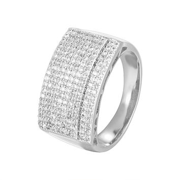 Men's Hip Hop 14k White Gold Finish Iced Out Designer Ring