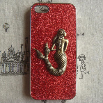 Steampunk Mermaid Red bling glitter hard case For Apple iPhone 5 case cover