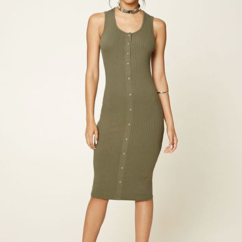 Ribbed Button-Front Dress