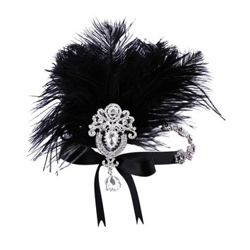 Women's Crystal Headband Feather Flapper Headpiece