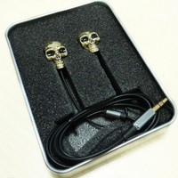 3.5mm High Performance Metal skull headphone punk rock style headset for MP3/Cellphone