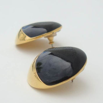 Monet Goldtone Crescent Black Enamel Button Earrings Designer Jewelry