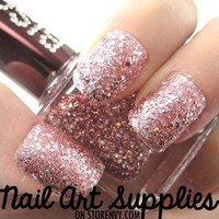 nailartsupplies | Pink Diamonds - Shiny Silver on Pink Glitter Nail Polish Lacquer 16ml | Online Store Powered by Storenvy