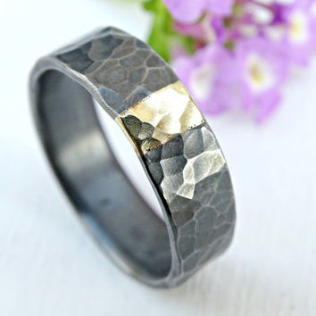 mens wedding band mixed metal, unique mens ring silver and gold promise ring, viking wedding ring hammered, cool wedding ring recycled metal
