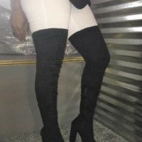 Black Suede Thigh High Boot