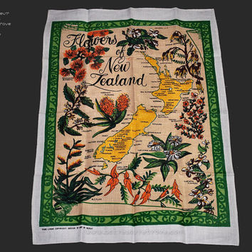 Souvenir Travel Linen Dish Towel from New Zealand UNUSED