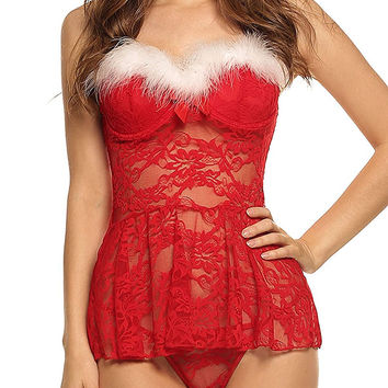 [12775] Christmas Sexy Lingerie Red Babydoll Lace Chemises