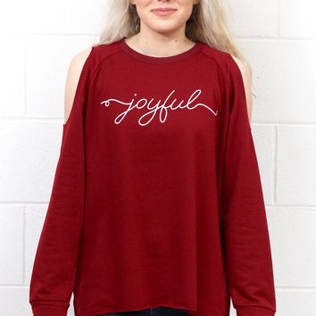 Joyful Graphic Cold Shoulder Sweatshirt {Deep Red} KIDS + ADULTS