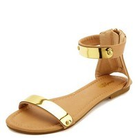 GOLD-PLATED SINGLE STRAP FLAT SANDALS