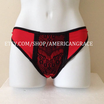French Cut Panties - Burlesque Panties - Black and Red Panties - Spandex Panties - Handmade Lace Underwear - Size Medium - READY TO SHIP