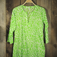Ikat Tunic in Lime