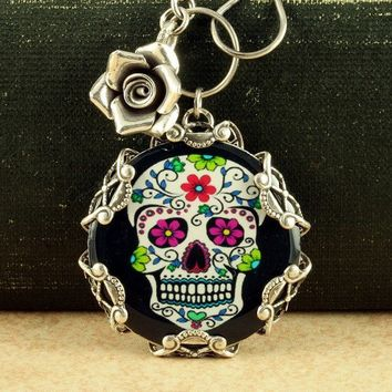 Sugar Skull Necklace Black Day of the Dead by ForTheCrossJewelry