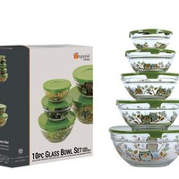Small Glass Bowl Sets with Lids (10-Piece)