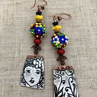COLOR MY WORLD, Colorful Earrings, Black and White, Black and White Earrings, Face Earrings, Hippie Jewelry, Whimsical, Twinkling Of An Eye