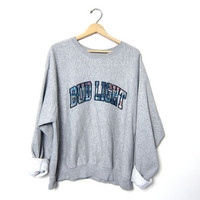 Vintage gray sweatshirt. BUD LIGHT Sweatshirt. Oversized slouchy sweatshirt. Sporty Sweatshirt. XL