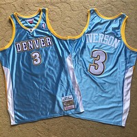 2006-07 Mitchell & Ness Denver Nuggets 3 Allen Iverson Retro L. Blue Swingman Jersey