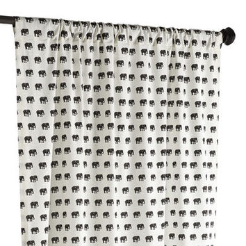 Elephant Stampede Curtain - Black